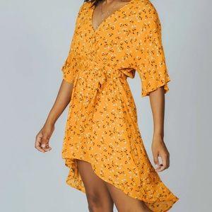 Minkpink asymmetrical floral wrap dress
